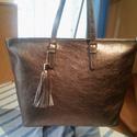 Bronz shopper, Táska, Válltáska, oldaltáska, Igazán szép bronz színű valódi marha bőrből készítettem ezt a shopper női táskát amelyben egy vastag..., Meska