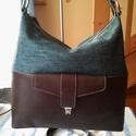 Vászon bőr hobó női táska, Táska, Válltáska, oldaltáska, Egy minden napi használatra alkalmas női táskát készítettem barna marha bőrből amit egy zöldes vászo..., Meska
