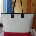 Fiatalos shopper taska, Táska, Válltáska, oldaltáska, Ezt a fiatalos táskát egy finom marha bőrből készítettem amelyet három színből raktam össze fehér pi..., Meska