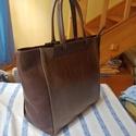 Bronz és barna shopper, Táska, Válltáska, oldaltáska,  Női shopper nagy pakolós erős finom kidolgozású táska. Bronzszínű barnávalkombináltam gyönyörű bélé..., Meska