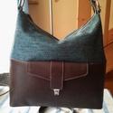 Vászon bőr hobó női táska, Táska, Válltáska, oldaltáska, Egy minden napi használatra alkalmas női táskát készítettem barna marha bőrből amit egy barnabás vás..., Meska