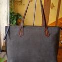 Velúr női táska, Táska, Válltáska, oldaltáska, Bőrművesség, Varrás, Ezt a női táskát egy kígyó mintás velúr bőrből készítettem barna bőr fogóval. Minden napi használat..., Meska