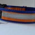 """fibi-N csatos kutyanyakörv, fényvisszaverő narancs-kék, Állatfelszerelések, Varrás, Csatos kutyanyakörv szélessége: 3 cm mérete:""""L""""  kb.41-50 cm között állítható  Minőségi kutyanyakör..., Meska"""