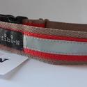 """fibi-N csatos kutyanyakörv, fényvisszaverő drapp-piros, Állatfelszerelések, Varrás, Csatos kutyanyakörv szélessége: 3 cm mérete:""""M""""  kb.31-40 cm között állítható  Minőségi kutyanyakör..., Meska"""
