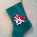Mikulás zokni - sötét zöld, Dekoráció, Karácsonyi, adventi apróságok, Karácsonyi dekoráció, Ajándékzsák, Az ár egy termékre értendő.  Filcből készült, harang mintás, masnis, csörgős Mikulás zokni.   Hossza..., Meska