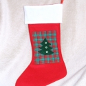 Mikulás zokni - piros, Filcből készült, magyal mintás, masnis, csörg...