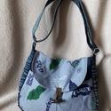 Farmer táska retró mintával, Baba-mama-gyerek, Táska, Ruha, divat, cipő, Válltáska, oldaltáska, Farmerből készült táska, vászon béléssel és állítható vállpánttal.   27 cm széles 21 cm magas 12 cm ..., Meska