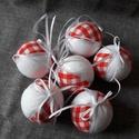 Piros fehér gömb 6 db, Dekoráció, Karácsonyi, adventi apróságok, Karácsonyi dekoráció, Karácsonyfadísz, Az ár 6 db-ra vonatkozik  Méret: 6 cm + 10 cm szalag  A postaköltség tájékoztató jellegű, több termé..., Meska