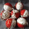 Piros fehér arany gömb 7 db, Dekoráció, Karácsonyi, adventi apróságok, Karácsonyi dekoráció, Karácsonyfadísz, Az ár 7 db-ra vonatkozik  Méret: 6 cm + 10 cm szalag  A postaköltség tájékoztató jellegű, több termé..., Meska