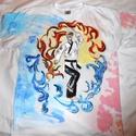 Taekwondo tűz és viz kézzel festett egyedi póló rendelő által biztosított darabra, Ruha, divat, cipő, Férfiaknak, Férfi ruha, Urban pólók, Festészet, Festett tárgyak, Egy fantasztikus sportoló számára készítettem ezt a pólót! Kicsi gyermek kora óta tekwondozik,  egy..., Meska