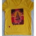 Naplemente a tengeren kézzel festett póló rendelő által biztosított darabra, Ruha, divat, cipő, Gyerekruha, Férfi ruha, Kamasz (10-14 év), Festészet, Festett tárgyak, Tengeri naplemente kézzel festett póló,rendelő ?ltal biztosított darabra.Kis remdelőm egy igazi han..., Meska