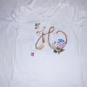 H -betű monogram kézi festésű póló rendelő által biztosított darabra, Ruha, divat, cipő, Gyerekruha, Kamasz (10-14 év), Ballagás, Festészet, Festett tárgyak, H- betű egy osztály kérésére készült eredetileg egy osztály számára készülő farsangi jelmez darabja..., Meska