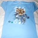 Tigris kézzel festett  egyedi póló rendelő által biztosított darabra, Ruha, divat, cipő, Gyerekruha, Kamasz (10-14 év), Festészet, Festett tárgyak, Tigris  kézzel festett egyedi póló rendelő által biztosított darabra. Tigris ! Igazi harcos , kecse..., Meska