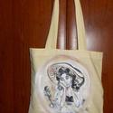 Belle álmodozása bevásárló és ajándék táska, Táska, Képzőművészet, Szatyor, Belle álmodozása , régi időket idéző romantikus bevásárló és ajándék táska. Ajándék ként és csomagol..., Meska