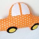 Autó formájú párna - Narancssárga csillagos - Autós díszpárna - Autó párna - Textiljáték - Textilfigura, Baba-mama-gyerek, Otthon, lakberendezés, Lakástextil, Párna, Varrás, Puha, ölelgetni való párnát készítettem babáknak, gyerekeknek. Pamutvászon anyagból készült, filc a..., Meska