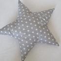 Csillag Párna - Csillag formájú párna - Szürke csillag párna, Baba-mama-gyerek, Otthon, lakberendezés, Lakástextil, Párna, Szürke alapon fehér csillagos anyagból készítettem ezt a csillag formájú párnát.  Puha poliészterrel..., Meska