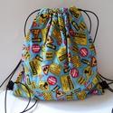 Táblás hátizsák - Ovis zsák - tornazsák - Bélelt hátizsák - Bélelt tornazsák - Gyerek táska - textil táska - tisztasági, Táska, Hátizsák, Tarisznya, Válltáska, oldaltáska, Varrás, Minőségi pamut anyagokból készült ez a tornazsák, vagy hátizsák, gyerekeknek.  Bélése narancssárga ..., Meska
