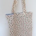 Virágos Bevásárló táska - Virágos bevásárlótáska - Virág mintás Ökotáska - Virágos Textil táska - virág mintás shopper, Táska, Válltáska, oldaltáska, Szatyor, Pénztárca, tok, tárca, Világos drapp alapon kis virágos pamutvászon anyagból készítettem ezt a könnyű bevásárló táskát vagy..., Meska