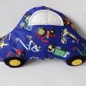 Autó formájú párna - Munkagépes autó párna - Autós díszpárna - Autó párna - Textiljáték - Textilfigura - Járműves autó, Baba-mama-gyerek, Otthon, lakberendezés, Lakástextil, Párna, Puha, ölelgetni való párnát készítettem babáknak, gyerekeknek. Munkagépes pamutvászon anyagból készü..., Meska