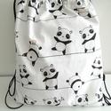 Pandás hátizsák - Pandás tornazsák - Bélelt hátizsák - Bélelt tornazsák - Panda mackós textil táska - Panda macis táska, Táska, Baba-mama-gyerek, Hátizsák, Válltáska, oldaltáska, Pamutvászon anyagból készült ez a pandás hátizsák vagy tornazsák. Bélése fehér pamut anyag. Fekete z..., Meska