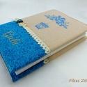Vintage, madárkalitkás napló, Otthon & Lakás, Papír írószer, Jegyzetfüzet & Napló, Varrás, Patchwork, foltvarrás, Hímzett napló - névhímzéssel. Természetesen bármilyen névvel kérhető.   Pamut csipkével szalaggal é..., Meska