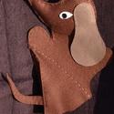 Kutyus kesztyűbáb, Játék, Báb, Varrás, Többféle színű filcből varrással készített kesztyűbáb. Mérete 30 cm magas, 15 cm széles., Meska
