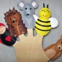 Filc ujjbáb csomag -  Séta a mezőn, Baba-mama-gyerek, Játék, Báb, Logikai játék, Baba-és bábkészítés, Varrás, 5 db-os környezetbarát filcből- kézzel készített ujjbáb csomag. Egy napsütéses délután a mezőn sétá..., Meska