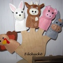 filc Ujjbáb csomag - A szomszéd farm lakói - barna bocival, Baba-mama-gyerek, Játék, Báb, Készségfejlesztő játék, Baba-és bábkészítés, Varrás, 5 db-os, filcből kézzel készített ujjbáb csomag. A figurák Pet palackok újra hasznosításával készül..., Meska