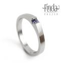 Nemesacél női gyűrű valódi kék zafírral, Esküvő, Ékszer, óra, Esküvői ékszer, Gyűrű, Nemesacél női gyűrű valódi kék zafírral  Modern formavilágú nemesacél gyűrű princess csiszolású való..., Meska