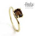 Szellő Arany gyűrű füstkvarccal, Ékszer, Gyűrű, 14 karátos sárga arany női gyűrű csokoládé színű ovális csiszolású füstkvarccal. A követ tartó fogla..., Meska