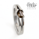 Classic Bold gyűrű füstkvarccal, Esküvő, Ékszer, Esküvői ékszer, Gyűrű, Elegáns kézzel kovácsolt nemesacél gyűrű valódi , ovális csiszolású  füstkvarccal.  A gyűrű anyaga: ..., Meska