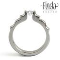 Angyal gyűrű fehér zafírral, Esküvő, Ékszer, óra, Esküvői ékszer, Gyűrű, Nemesacél női gyűrű fehér zafírral. A gyűrű 3 mm széles, a kő 4 mm átmérőjű kerek csiszolású. Gyönyö..., Meska