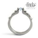 Angyal lánykérőgyűrű halványkék topázzal, Esküvő, Ékszer, óra, Esküvői ékszer, Gyűrű, Nemesacél női gyűrű fehér cirkóniával. A gyűrű 3 mm széles, a kő 4 mm átmérőjű kerek csiszolású. Gyö..., Meska