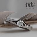Princess gyűrű fehér cirkóniával , Esküvő, Ékszer, Esküvői ékszer, Gyűrű, Nemesacél gyűrű fehér cirkóniával. A gyűrű 3 mm széles, a kő 4X4 mm princess / négyzet csiszolású. E..., Meska
