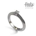 Viola nemesacél gyűrű gyémánttal, Esküvő, Ékszer, Gyűrű, Nemesacél gyémánt gyűrű eljegyzésre. Letisztult és elegáns formavilágú szoliter gyűrű. A gyémántot V..., Meska