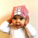 Fiorella kifordítható gyerek SAPKA pink-szürke/ nyuszis, Táska, Divat & Szépség, Ruha, divat, Sál, sapka, kesztyű, Sapka, Kézzel festett egyedi tervezésű manósapi, fiorella stílusban a mindennapokra gyerekeknek. Dupla réte..., Meska