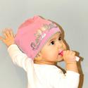 Fiorella kifordítható gyerek SAPKA pink-szürke/ ezüst cicás, Táska, Divat & Szépség, Ruha, divat, Sál, sapka, kesztyű, Sapka, Kézzel festett egyedi tervezésű manósapi, fiorella stílusban a mindennapokra gyerekeknek. Dupla réte..., Meska