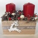 Pirosló Adventi doboz, Dekoráció, Otthon, lakberendezés, Ünnepi dekoráció, Karácsonyi, adventi apróságok, Virágkötés, Mindenmás, Ezúttal formabontó köntöst gondoltam ki, az adventi gyertyáknak. A 12,5cm x12,5 cm nagyságú fa dobo..., Meska