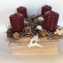Adventi doboz, a természetesség jegyében, Dekoráció, Otthon, lakberendezés, Ünnepi dekoráció, Karácsonyi, adventi apróságok, Virágkötés, Mindenmás, Ezúttal formabontó köntöst gondoltam ki, az adventi gyertyáknak. A fa dobozt nikecellel töltöttem k..., Meska