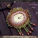 Bronz óra medál, Ékszer, Medál, Üdvözökkel az oldalamon!  Eladó termékem: Saját tervezésű óra számlappal ellátott medál, mely gyöngy..., Meska