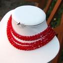 5soros piros ÜVEG gyöngyös kaláris Készleten, Ékszer, óra, Nyaklánc, 5 soros piros kaláris, csiszolt minőségi cseh 6mm-es ÜVEG gyöngyökből és üveg kásagyöngyökből felvál..., Meska