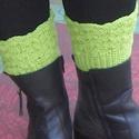 Zöld Tél - Horgolt csizmadísz, Ruha, divat, cipő, 14 cm magas, 36-40 cm bő csizmadíszt horgoltam. Akár hosszú, akár rövid a csizmád, használhatod hozz..., Meska