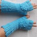 Tengerkék - Horgolt kézmelegítő, Hosszú ujjatlan kesztyűt horgoltam. 26 cm. A bő...