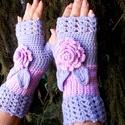 Rózsaszál - Horgolt kézmelegítő, A világos lila és halvány rózsaszín találkoz...