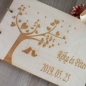 Esküvői vendégkönyv gravírozott fa fedlappal, Különleges megjelenésű, személyre szabott ven...