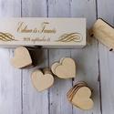 Esküvői vendégkönyv - szívek dobozban, Esküvő, Esküvői dekoráció, Meghívó, ültetőkártya, köszönőajándék, Különleges megoldás, az esküvői vendégkönyv újragondolása, hiszen a vendégek fa szívekre írhatják üz..., Meska
