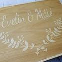 Esküvői vendégkönyv gravírozott fa fedlappal, Elegáns, letisztult vendégkönyv, melybe biztosa...