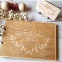 Esküvői vendégkönyv gravírozott fa fedlappal, Esküvő, Esküvői dekoráció, Meghívó, ültetőkártya, köszönőajándék, Elegáns, letisztult vendégkönyv, melybe biztosan szívesen ír útravaló jókívánságot a násznép.  A ven..., Meska
