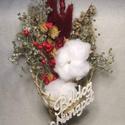 """""""A természet ajándéka"""" Szárazvirág csokor, Dekoráció, Csokor, Ünnepi dekoráció, Ebben a kis csokorban sokáig gyönyörködhetsz mivel szárazvirágokat és gyapot virágot kötöttem csokor..., Meska"""