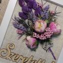 """""""A lila szerelmeseinek"""" Virágcsokor képkeretben, Otthon, lakberendezés, Mindenmás, Dekoráció, Csokor, Szárazvirágokat és művirágokat használtam az elkészítéséhez. Ajánlom névtáblának, szülinapra, névnap..., Meska"""
